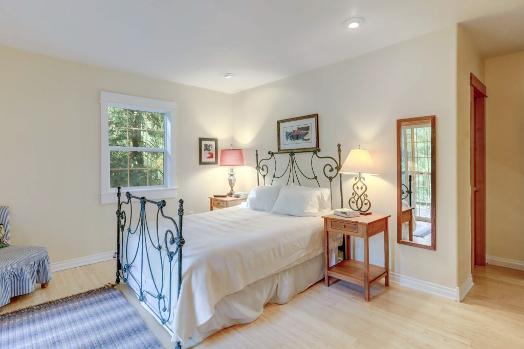 Bedroom with bamboo flooring