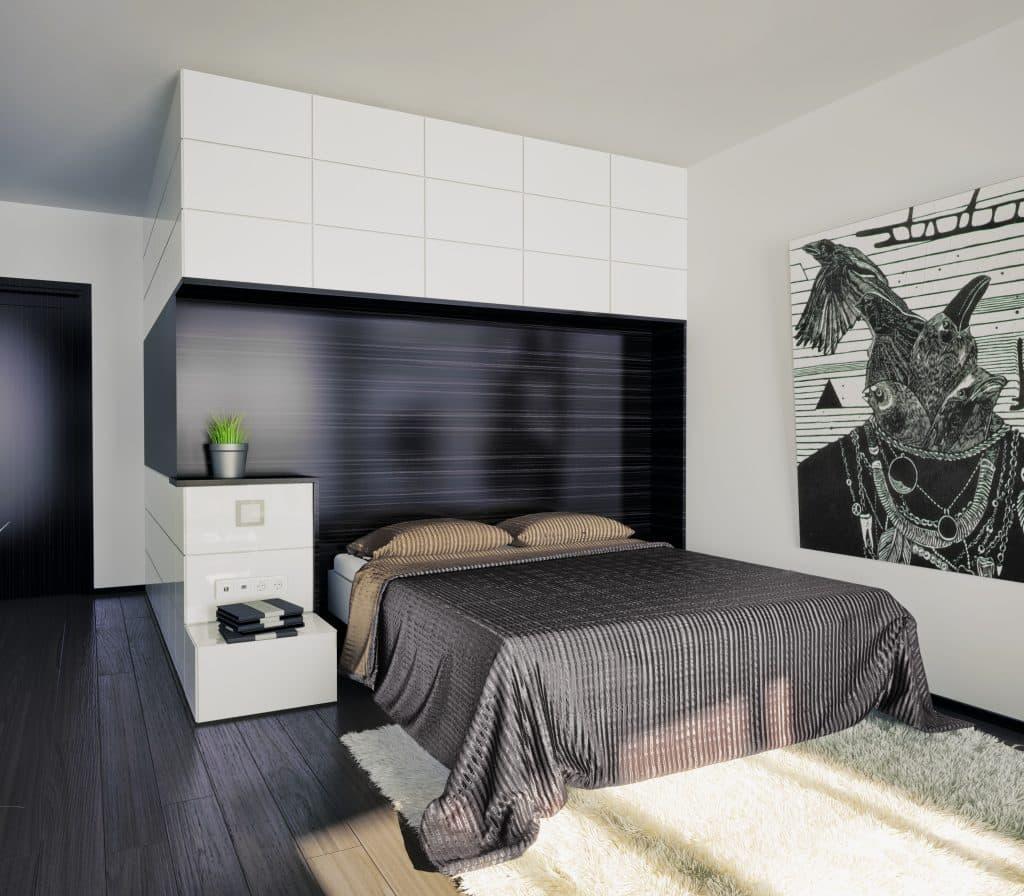 Modern looking bedroom