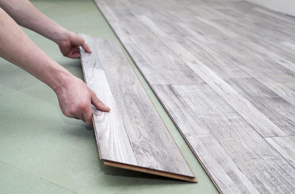 hardwood flooring on top of floor underlayment