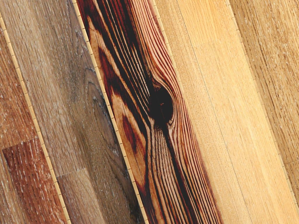 Different styles of hardwood next to each other