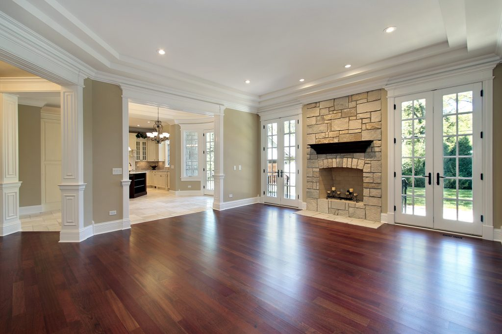 Living room with fresh hardwood floors