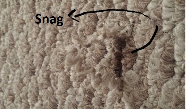Snag in Berber carpet from a vacuum
