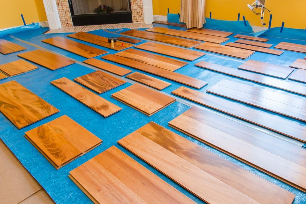 Preparation for installing planks of hardwood floor
