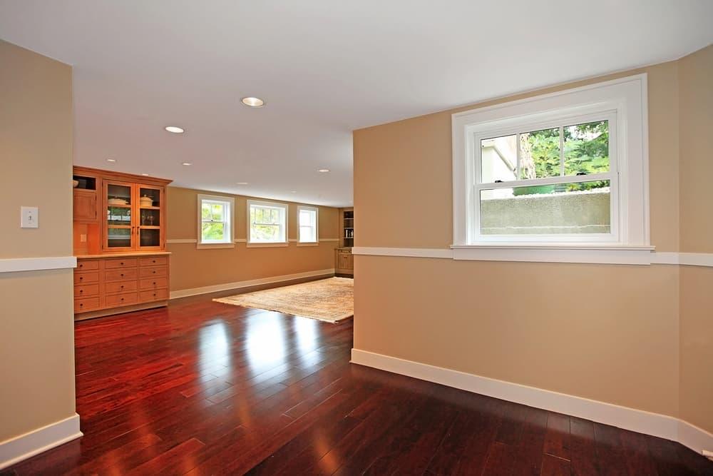 luxury basement with hardwood floor