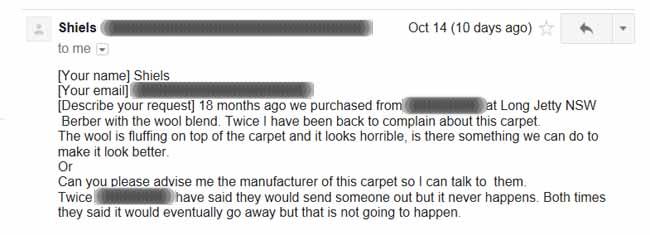 email regarding ruined wool Berbe carpet