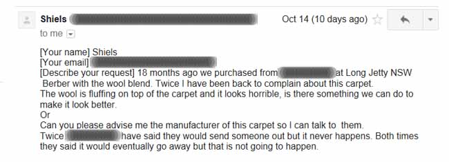 email regarding ruined wool Berbe carpet
