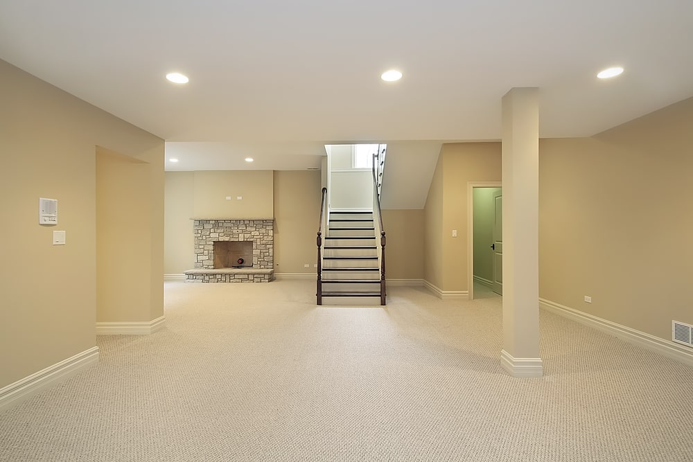 wall to wall carpet in basement flooring